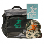 Laptop bag, decal, and First Lite Fusion hat
